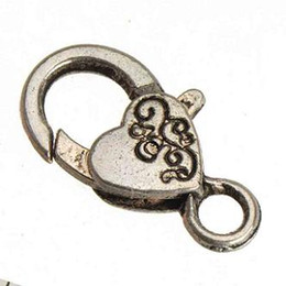 Hooks For Key Chains Canada - Jewelry Findings DIY Spring Clasps Hooks For Bracelets Handbags Key Chains Lobster Toggles Vintage Silver Large Heart Love Metal 26mm 50pcs