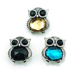 noosa owl UK - Fashion 18mm Snap Buttons 3 Color Plastic Crystal Owl Metal Ginger Clasps DIY Noosa Jewelry Accessories Free Shipping