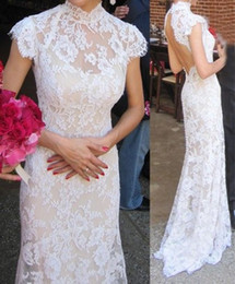 custom made cheongsam dresses UK - 2016 High Collar Cheongsam Style Lace Wedding Dresses with Short Sleeves Open Back Wedding Formal Dress Custom Made Advanced Bridal Gowns