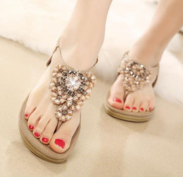 flat sandals for women pink Canada - Plus size flat crystal sandals summer shoes beach sandals ladies flower rhinestone flip flops for women bohemian sandals size 35 to 40 41