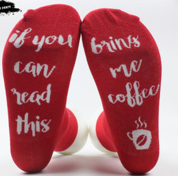 Cans Warmer NZ - If You can read this Bring Me a Glass of Wine Beer Letter Print Stylish Cotton Socks Female Thermal Warm Christmas Socks