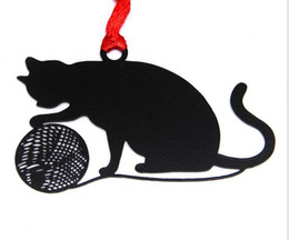 Souvenirs Shower Wedding UK - 25pcs Stainless Steel Black Ball Cat Bookmark Book card For Wedding Baby Shower Party Birthday Favor Gift Souvenirs