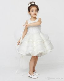 Black White Kids Pageant Dress Canada - White Flower Girl Dresses Wedding Gowns Jewel Tiered Appliques Kids Pageant Dresses For Girls Knee Length Back Button Princess Birthday Wear