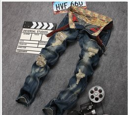 Skinny Jeans For Plus Size Men Canada - Plus Size Distressed Mens Biker Jeans Ripped Skinny Jeans For Men Hip Hop Casual Fashion Homme Stright Denims Jeans J171103