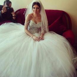 $enCountryForm.capitalKeyWord NZ - Luxury Crystal Bead Sequins Off-Shoulder Ball Gown Wedding Dresses White Organza Plus Size Bridal Dress Vestidos De Novia Plus Size
