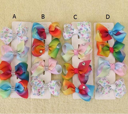 rainbow pastel hair NZ - 50pcs Xmas Romantic jojo 7cm Pastel flora ombre Rainbow ribbon hair bows Alligator clips baby girl Dance hair bobbles Accessories HD3479