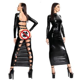 Robes De Cocktail En Cuir Sexy Pas Cher-SEXY EXOTIC PVC Faux cuir BONDAGE CLUBWEAR Party robe de soirée cocktail