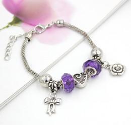 Love Bow Bracelet NZ - Free Shipping Wholesale Charms European Style Purple Beads Heart Rose Bows Charm Bracelet Jewelry Cheap