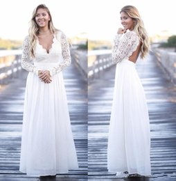 Discount images dress france Plus Size Wedding Dresses Long Sleeve France Lace Boho Bridal Dresses Cheap Sexy V Neck Backless Pleated Sweep Train Wed