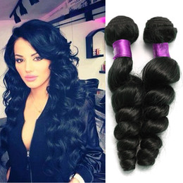 Discount 24 inch hair extensions black - Loose wave 6a brazilian hair virgin human hair wefts natural black brazilian loose wave virgin hair extensions human ext