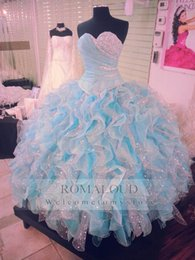 Robe Bleu Tulle Pas Cher-2017 Haute Organza Sweetheart Beaded Jewel Sparkles Splendide Sky Blue Blanc Coloré Sweet 16 Robe de bal Blue Ball Gown Quinceanera Robes