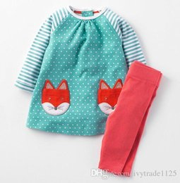 S'habille Complètement Pas Cher-NOUVEAU Little Maven girs enfants 100% coton à manches longues col rond pleine dot chats impression fille ensemble causal printemps automne fille ensemble robe + pan