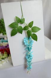 "hanging flower props 2019 - HOT Silk Wisteria Vine 62cm 24.41"" Length 24Pcs Artificial Flowers Hydrangea Chlorophytum for Wedding Photograph Pr"