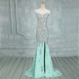Barato Menta Vestido De Baile Querida-Sweetheart Mermaid Elegante Mint Prom Dresses 2015 lado Slit Beaded Prata Stones Vestidos de noite Sparkly Sexy Formal longo Pageant Custom Dress