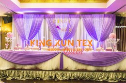 China Good Looking White And Lilac Color Ice Silk Wedding Backdrop Curtain Include The Silver Color Sequin Fabric Free Shipping suppliers