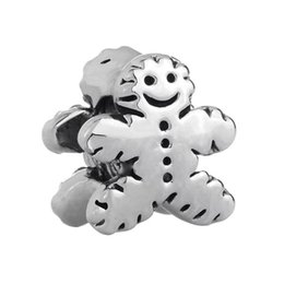 gingerbread cookies wholesale UK - Shenzhen factory Gingerbread Man Cookie big hole metal slider bead European spacer charm fit Pandora Chamilia Biagi charm bracelet