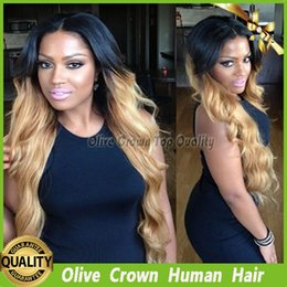 full body cosplay Canada - Virgin Brazilian Blonde Ombre Lace Front Wig Human Hair Body Wave Full Lace Wig Glueless Remy Hair Lace Front Wig With Baby Hair