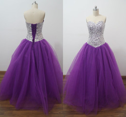 Cristaux Violets Pour Robes Pas Cher-Sparking Beaded Crystal Purple Quinceanera Ball Gowns Image réelle Sweetheart Cheap Sweet Sixteen 2016 Debutante Pageant Robes
