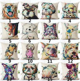 China 2018 Sofa Pillow Case Bull Terrier Painted Pillow dachshund 18 patterns Square Cotton Linen Cheap Cushion Cover For Home suppliers