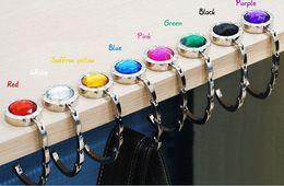 Hand Hooked Bag Canada - Rhinestone Fashion Folding Foldable Metal Round Hand Bag Handbag Purse Hanger Hook Holder mix Colors