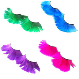 Plumas Magníficas Al Por Mayor Baratos-Eyelashes10Pairs mayor-Falsos Gorgeous Party exageración pluma Pestañas maquillaje