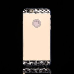 Free Cellphone Cases Australia - For iPhone7 7plus 5 6 6plus Case Electroplate Mirror Cellphone Soft TPU Back Cover With Glitter Rhinestone Button Slots DHL Free SCA067