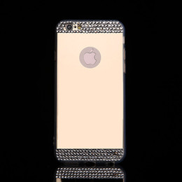Wholesale For iPhone7 plus plus Case Electroplate Mirror Cellphone Soft TPU Back Cover With Glitter Rhinestone Button Slots DHL Free SCA067