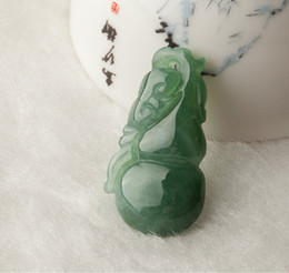 gourd charms NZ - Natural light green jadeite jade pendant hand-carved charm good luck gourd pendant necklace