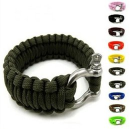 Discount hiking clasps - stainless Steel U Clasp Escape Life-saving Bracelet Rope Bracelet Outdoor Survival Cord Black Camping & Hiking Survival