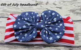 Discount baby hair bands ribbons - 10pcs Newest Infant knotted Wave point Turban Twist hair band bow flower Baby 4th of July headband Head Wrap Twisted Kno