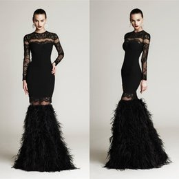 $enCountryForm.capitalKeyWord Canada - Black Feather Jewel Long Sleeve Evening Dresses 2015 New Arrival Detachable Skirt Sweep Train Celebrity Gowns Custom Made China EN63019