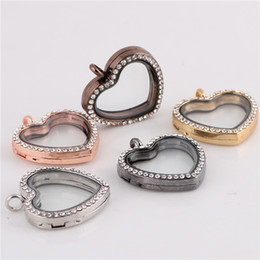 $enCountryForm.capitalKeyWord NZ - Fashion LOVE Heart locket glass pendants Necklaces living locket magnetic glass floating charm locket with crystals