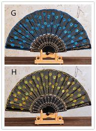 peacocks decor 2019 - Hot Festive Chinese Folding Peacock Hand Fan Bead Fabric Decor Colored Embroidered Flower Pattern Black Cloth Folding Ha