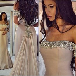 Barato Saias Elegantes Do Partido Formal-Elegant New Crystals formal vestidos de noite bainha Strapless Bling Sequins Prom vestidos com saia Chiffon fora do ombro 2016 Party Gowns