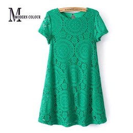 Green Lace Dress Xl Canada - Summer Style European New Arrivals 2015 Women Dresses Fashion Casual Lace A Line Plus Size Dress White Black Green Red Clothing
