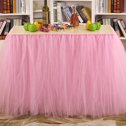 Discount shower waterproofing Hot Sales Colors Table Skirt Tulle Tableware for Wedding Decor Birthday Baby Shower Party Table Cloths 91.5cm*80cm JM005