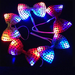 Discount light up bow tie - LED Mix Colors Changing Bow Tie Kids Adult Multicolor Bowknot Flashing Tie Light up Toys for Party Disco KTV Decoration
