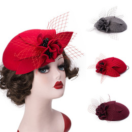 Wholesale Womens Unique Vintage Stylish Felted Wool Fascinator Pillbox Round Top Wedding Party Veil Hat T290