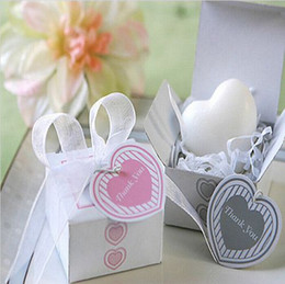 Gift Shaped Soap Canada - Creative Heart Shaped Mini Handmade Soap With THANK YOU Card Wedding Party Favor Gifts 2015 New Hot Sale Free Shipping