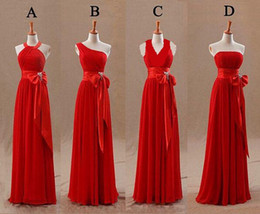 $enCountryForm.capitalKeyWord Canada - Red Bridesmaids Dresses 4 Styles Tight Pleats Elegant Bow Knot Chiffon Long Designer Plus size Bridesmaid Party Dresses