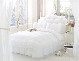 China Wholesale- Korean Style Princess Lace Bedding Sets 100% cotton queen King Size 4pcs Bedclothes Bed Linen Bedskirt Duvet Cover supplier solid quilted bedding suppliers