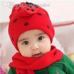 Barato Cachecol Chapéu Animal Atacado-Wholesale-Hot Sale Baby Hat Scarf Set Meninos Garotas Beatle Animal Twinset Outono Inverno Warm Knitted Beanie Casaco com capuz Criança Gorros 1-42