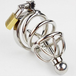 locking urethral cage NZ - Male Chastity Device Stainless steel Cock Ring,Removable Urethral Sound Catheter Penis lock,Fetish Bondage Chastity Cage