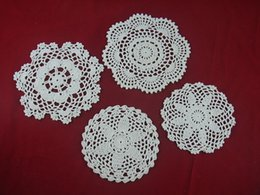white round tables NZ - wholesale handmade Crocheted Doilies White lace cup mat vase Pad, Heart Round coaster 4 Design 15-20cm table mat 40PCS LOT tmh412