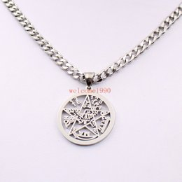 religious chains NZ - silver Stainless Steel Large 32mm Geometric Religious geometric JEWISH pentagram Wicca Pendant necklace curb chain 5mm 18''-32''