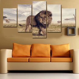 $enCountryForm.capitalKeyWord Canada - 2016 Hot Unframed 5 Pcs Abstract HD Lion Wall Picture Decorative Art Print Painting On Canvas For Living Room Home Decoration