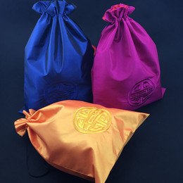 Silk Drawstring Shoe Bags NZ - Embroidery Joyous Shoe Bags for Travel Drawstring Double Layer Storage Bag Folding Silk Fabric Portable Shoes Bag Dust Cover 10pcs lot