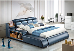 $enCountryForm.capitalKeyWord NZ - FREE SHIPPING GENUINE LEATHER BED NOBLE STYLE SKY BLUE SIMPLE FASION DOUBLE PERSON GOOD QUALITY 180*200CM(A32D)