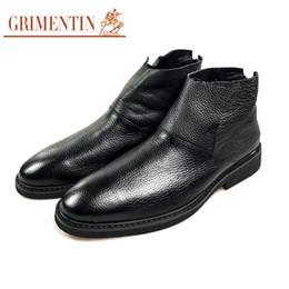 Grimentin Shoes UK - GRIMENTIN Brand men ankle boots genuine leather Italian designer zip black comfortable casual mens boots hot sale formal fashion mens shoes