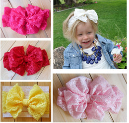 Solid boutique Style hair bowS online shopping - Baby Christmas Lace hair bows Flower headbands European Styles Girls Headwrap Hairbands Children Hair Accessories boutique Party Decoration